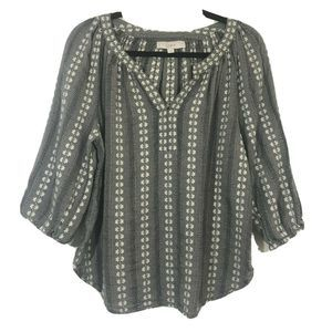 Loft | Embroidered Pullover Balloon Sleeve Blouse